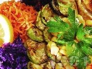 Гарнитура / предястие от запечени заленчуци на тиган (тиквички, патладжани, моркови, зеле, царевица)